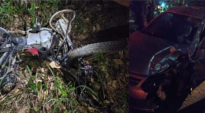 Colisão entre moto e carro deixa dois mortos e um ferido na RJ-116 em Aperibé